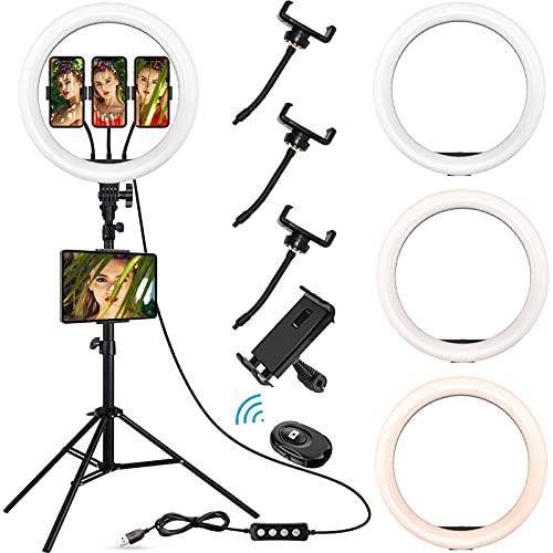 HOGARCOSAS Anillo de luz LED de 14 pulgadas con trípode y soporte de tableta compatible con iPad para Tik Tok y Youtube Video, transmisión en vivo