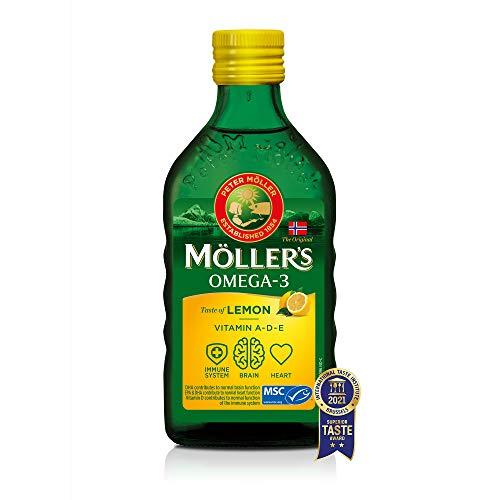 Moller's ® | Aceite de hígado de bacalao con omega 3 | Complemento dietético con omega-3 EPA, DHA y vitaminas A, D y E | Aceite de hígado de bacalao | Sabor Limón | 250 ml