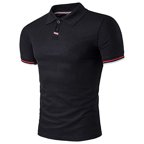 BicRad Herren Shirt Polo Kurzarmshirt Slim Polohemden Baumwolle, Schwarz, Gr. M