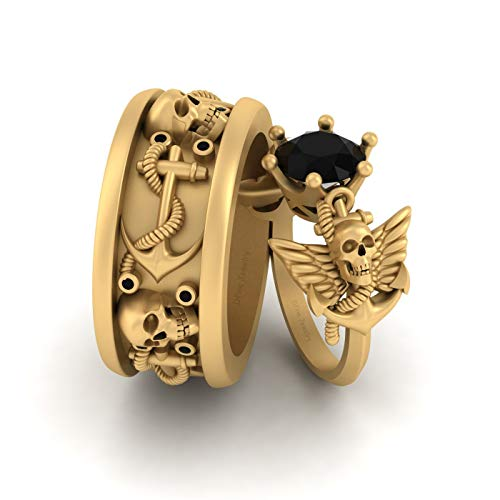 Anillo de boda de oro amarillo macizo de 14 quilates con diseño de calavera gótica espeluznante, 2,30 quilates, ónix negro, ancla náutica, alas de ángel, anillos a juego