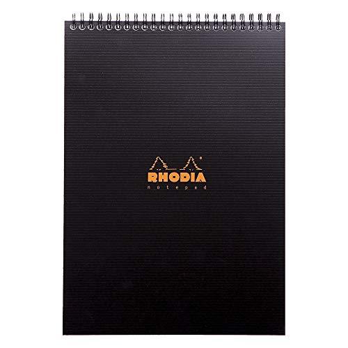 Rhodia Rhodiactive - Cuaderno con tapa semirrígida y encuadernación en espiral , A4, 160 páginas, microperforado, de rayas, 21 x 29.7 cm, color negro