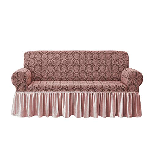 Sofabezug Irge Charlotte 2-, 3-, 4-Sitzer-Sofa, elastisch, Damast-Sofa (rosa, drei Sitzer)