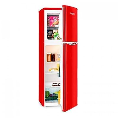 Klarstein Monroe XL - Refrigerator, Freezer, Combination Fridge Freezer, Retro Design '50s / '60s, Low Operating Noise, 97 L, 3 Levels, 2 Door Compartments, Energy Efficiency A+, 70 W, Red
