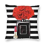 Bokueay Fundas de almohada cojín Women Makeup Decorative Throw Pillow Covers Black Perfume Bottle Lipstick Pillows Case Square Cushion Cover Standard Pillowcase for Sofa Couch Bedroom Patio 18x18 Inch