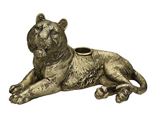 Engelnburg hoogwaardige kandelaar kandelaar kandelaar tijger polyhars goud 19,5 x 11 x 10,5 cm