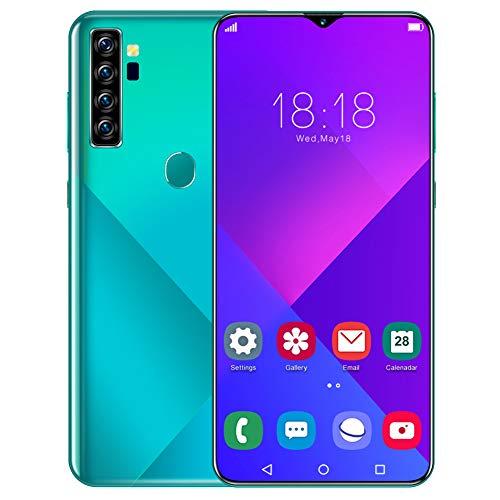 6.7IN Smartphone, 1440X3040 Huella Digital Smartphone Teléfonos desbloqueados 100‑240V 8 + 256GB, 4800mAh Batería Grande, Tarjetas Dobles Doble Modo de Espera(Enchufe de la UE)