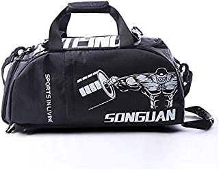 Fenfen-snb Gym Bag Dry Wet Separated Waterproof Sports Gym Bag with Shoes Compartment Travel Duffel Bag for Men and WomenShoulder Tote Bag Training handbag  Color Black