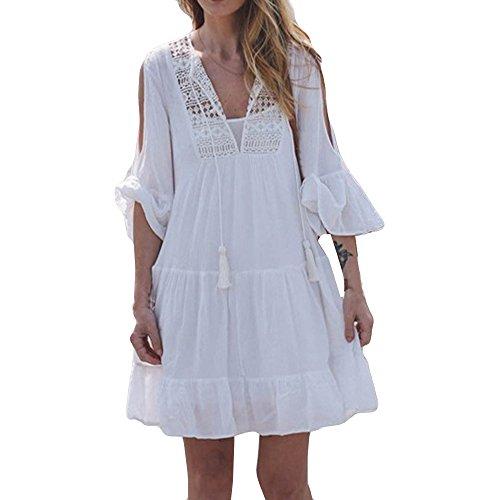 Ansenesna Kleid Damen Boho Sommer Kurz Locker Mini Sommerkleider Spitze Strandkleid Mit 3/4 Ärmeln Weiß (S, Weiss 5)