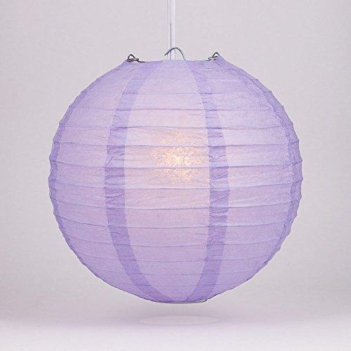 "Quasimoon PaperLanternStore.com 8"" Lavender Round Paper Lantern, Even Ribbing, Hanging Decoration"