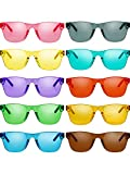 Gejoy One Piece Rimless Tinted Sunglasses Eyewear Transparent Candy Color Glasses (Color A, 10 Pairs), Medium