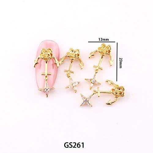 roroz Nagel-Edelsteine für Gel-Nägel, Nagel-Strasssteine 3D, Kettenphototherapie-Nagelbohrer, Nagelkunstdekorationen, Nagelzubehör, Dekoration, 1 Karton 10 identische Modelle,261