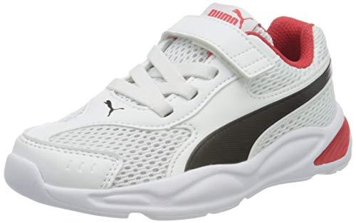 PUMA 90S Runner Mesh AC PS, Zapatillas Unisex niños, Blanco White Black/High Risk Red 03, 32 EU