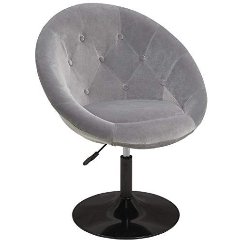 Duhome Sessel Farbenvielfalt höhenverstellbar Kunstleder Clubsessel Coctailsessel Loungesessel - TYP 509A, Farbe:Grau, Material:Samt