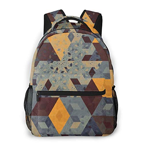 Lawenp Fashion Unisex Backpack Geometric Vintage Bookbag Lightweight Laptop Bag for School Travel Outdoor Camping