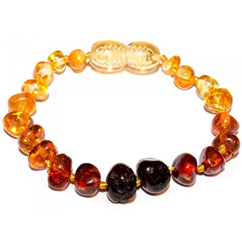 Baby J's PREMIUM Baltic Amber Bracelet/Anklet Polished Ombre coloured - Variety of sizes 12-17cm - Money Back Guarantee. - Beautiful, practical and unique. (12cm)