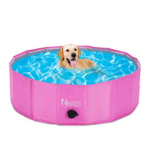 NHILES Upgrade Portable Pet Dog Pool, Collapsible Bathing Tub, Indoor & Outdoor Foldable Leakproof Cat Dog Pet SPA for DogCat and Kid