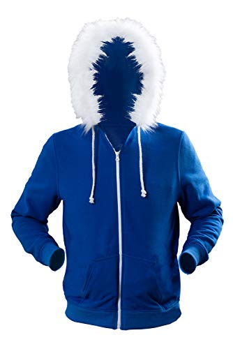 Adult Sans Blue Jacket Hoodies Costume Halloween Cosplay Plush Zipper Hooded Sweatshirt Outwear Cotton (6T, Kids)