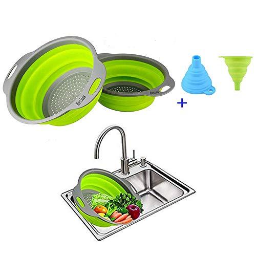 Ruesious 2 zusammenklappbare Siebe Set (Schmutzfänger), Lebensmittelqualität Silikon Küche Sieb Space-Saver Falten Sieb, 9,5 Zoll und 8 Zoll Größe (grün)