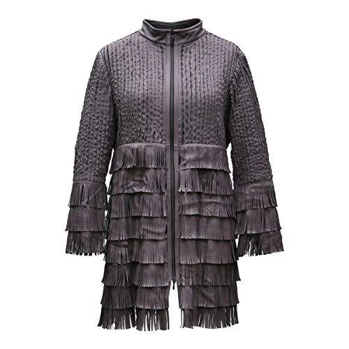 Lederjacke - Madonna Damen Jacke mit Fransen Lammnappa Leder Size S, Color Camel