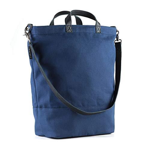 Zimmer Fahrradtasche Montreal/aus wasserabweisendem Canvas und Leder/zum Einhängen an den Gepäckträger/Tragetasche und Umhängetasche/Marine-Blau