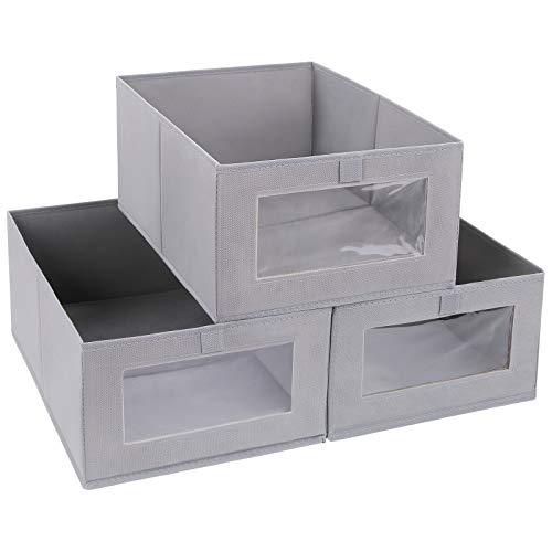 DIMJ 3 Stück Aufbewahrungsboxen, Faltbox mit Transparentem Sichtfenster Faltbare Aufbewahrungskiste mit Schlaufe für Kleiderschrank, Kleidung, Bücher, Kosmetik, Spielzeug usw. (Silber grau)