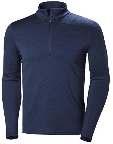 Helly Hansen Men's HH LIFA Merino Wool 1/2 Zip Lightweight 2-Layer Long-Sleeve Thermal Baselayer Top, 691 Evening Blue, XXX-Large