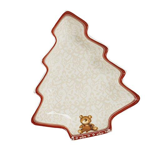 Brandani 54466abbracci albero Hors Doeuvre vassoio con orso decorazione, porcellana, bianco