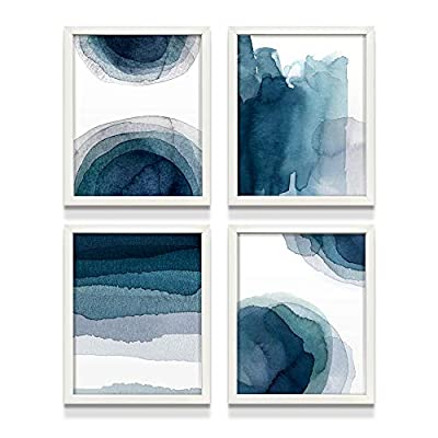 """Wall Art Prints for Living Room Bedroom Kitchen   Abstract Aqua Blue Watercolor Paintings   8""""X10""""   UNFRAMED   Digital Prints   Home Decor Accents   Home Decorations   Set of 4"""