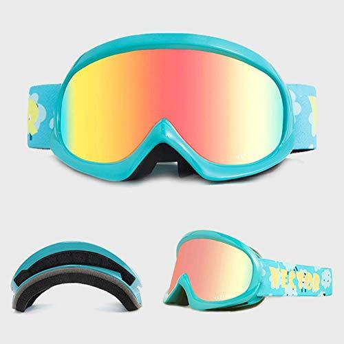 JayQm winterskibril voor kinderen met dubbele lens UV400 tegen mist, sneeuw, kinderskibril voor jongens