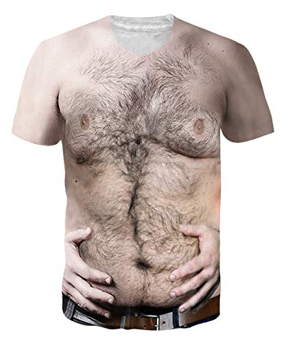 Loveternal Unisex Big and Tall Muscle Tees for Womens Funny Chest Hairy Shirt Novelty O-Neck Ugly T-Shirts Short Sleeve Papa Big Belly Slim Wife T Shirts for Party L