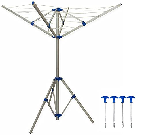 Xtremeauto 4 Arm Portable Rotary Folding Aluminium Fixable Camping Clothes Airer Washing Line - Caravan Motorhome Campervan