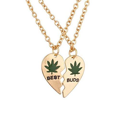GuDeKe Marihuana-Blatt Best Buds BFF Beste Freund Valentine Herz Weed Blatt Cannabis Pot Hängende Halsketten (2 PC) (Golden)