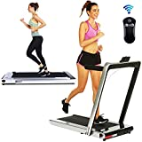 2 in 1 Under Desk Portable Electric Folding Treadmill Walking Pad with Wireless Remote Control and Audio Speakers, Fitness Walking Jogging Running Machine Cardio Workout for Home Office (Silver)