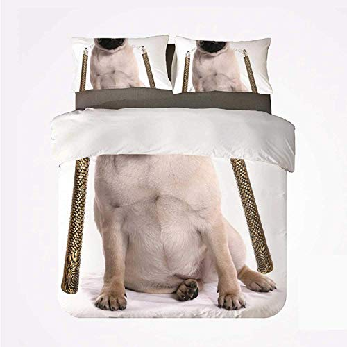 Duvet Cover Set Pug Durable 3 Bedding Set,Ninja Puppy with Nunchuk Karate Dog Eastern Warrior Inspired Costume Pug Image Decorative for Indoor