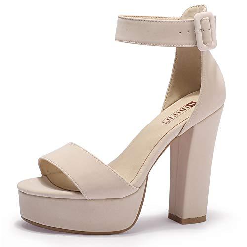 IDIFU Women's IN5 Sabrina Ankle Strap Platform High Chunky Heels Party Sandal(12, Nude Nubuck)
