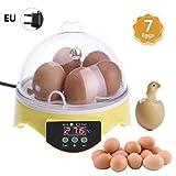Mini incubatrice per uova che gira e cova automaticamente 7 pezzi di uovo che gira piccola incubatrice per pollame LED digitale scatola di allevamento di pollo, temperatura costante a tutto tondo