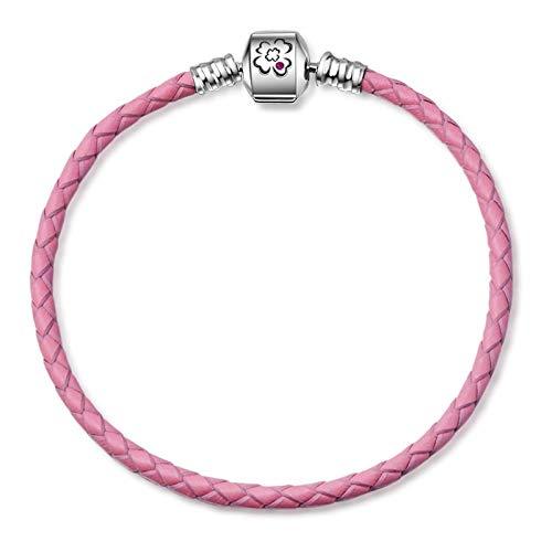 PANDACHARMS Damen Rosa Leder Armband für Charms, 19cm, 925 Sterling Silber, passt zu Pandora Moments