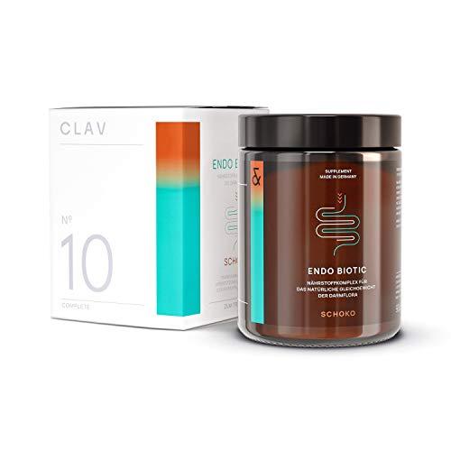 CLAV N°10 ENDO BIOTIC Choc | Probiotics Bio Cultures Complex Drink Powder | 9 Bacterial Multi-Strains + Inulin | Lactose Free + No Sugar + Vegan | 90g Powder Made in Germany