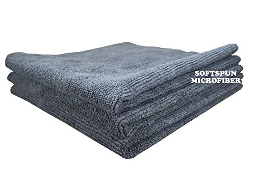 SOFTSPUN Microfiber Cleaning Cloths, 3pcs 30x30cms 340GSM Grey! Highly Absorbent, Lint and Streak Free, Multi -Purpose Wash Cloth for Kitchen, Car, Window, Stainless Steel, silverware.