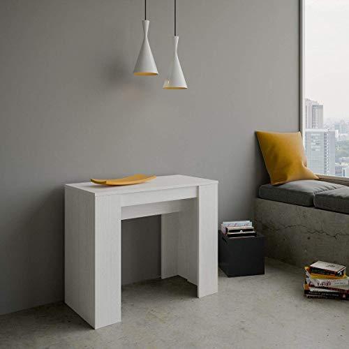 Itamoby Basic Small Ausziehbare Konsolentisch, Spanplatten, Weiß Esche, L.90 P.48 H.77 (ausziehbar bis 204 cm)