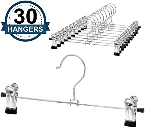 NORTHERN BROTHERS Pants-Hangers-Skirt-Hangers-Pant-Hangers-with Clips Slack Hangers Pants Trouser Hangers Clothes Hangers for Pants (30 PCS)