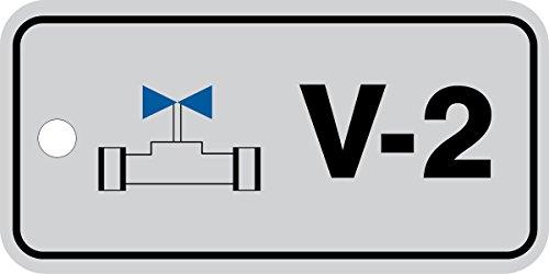 Accuform TDJ402VPM Plastic'V-2 Valve' Energy Source Standard Tag, 1-1/2' W x 3' L, Black/Blue on Gray (Pack of 5)