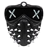 25 Expression Changing Watch Dogs Wrench Mask with Rivet, Light Up Punk Devil Cosplay Legion Ghost Death PVC Hacker Mask