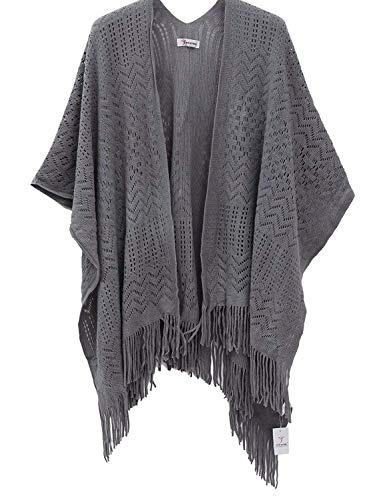 Soft Knitted Poncho Wrap Shawl - Soul Young Open Front Hollow Sweater Cardigan for Women - Grey -