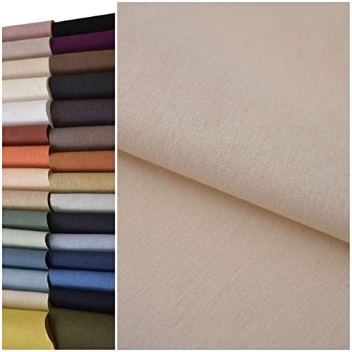 COTTONVILL 11count Linen Blend Solid Bio Washing Fabric (3yard, 01-White)