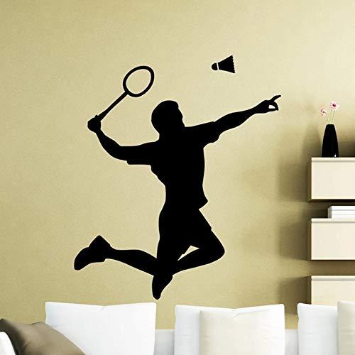 WERWN Jugador de bádminton Gimnasio Raqueta decoración de Interiores Puerta Ventana Vinilo Silueta Mural