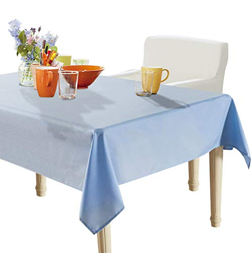 YEMYHOM Spill-Proof Fabric Rectangle Tablecloth for Dining Room, Wedding and Party (60 x 104, Light Blue)