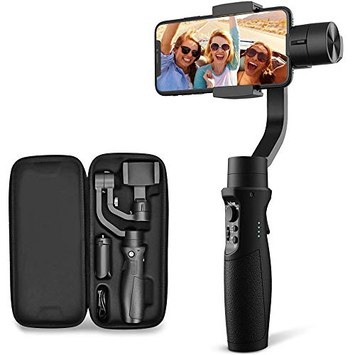 Stabilizzatore per Smartphone – Hohem Stabilizzatore Gimbal a 3 Assi con 5 Modalità, PhoneGo/Activetrack/Time-Laspe/Slow Motion/Panoramica, Compatibile con Smartphone Come iPhone X/Samsung/Huawei
