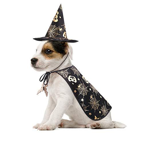 POPETPOP Pet Halloween Costumes Cape with Wizard Hat Dog Cat Halloween Apparels (Size S)