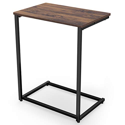Homemaxs C Table Sofa Side End Table Wood Finish Steel...